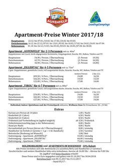 Preisliste Apartment Winter 2017/2018