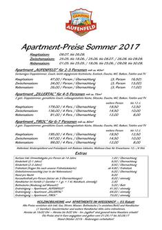 Preisliste Apartment Sommer 2017