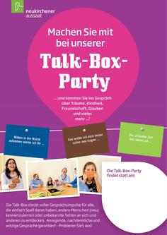Einladung zur Talk-Box-Party Plakat