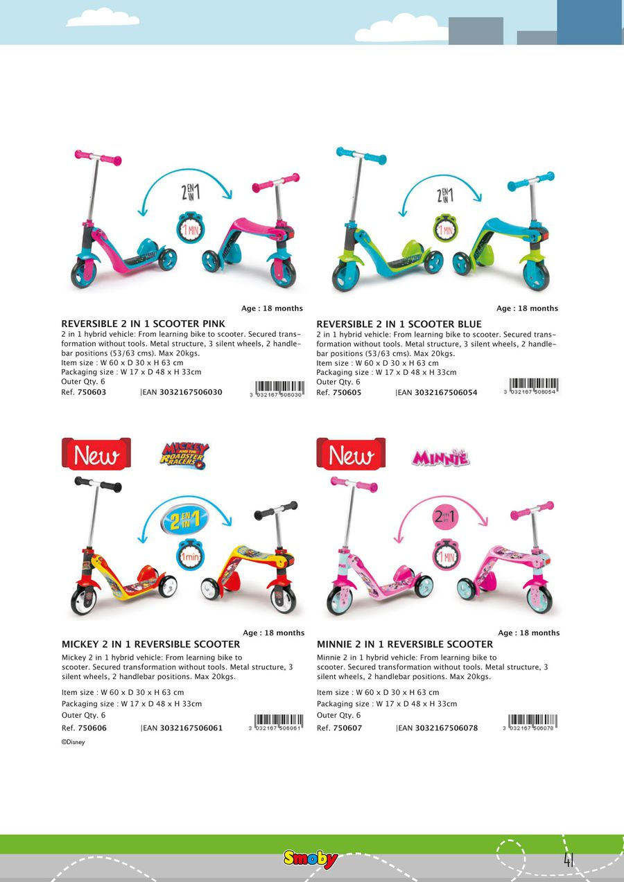 Simba Smoby Reversible 2 in 1 Scooter Pink