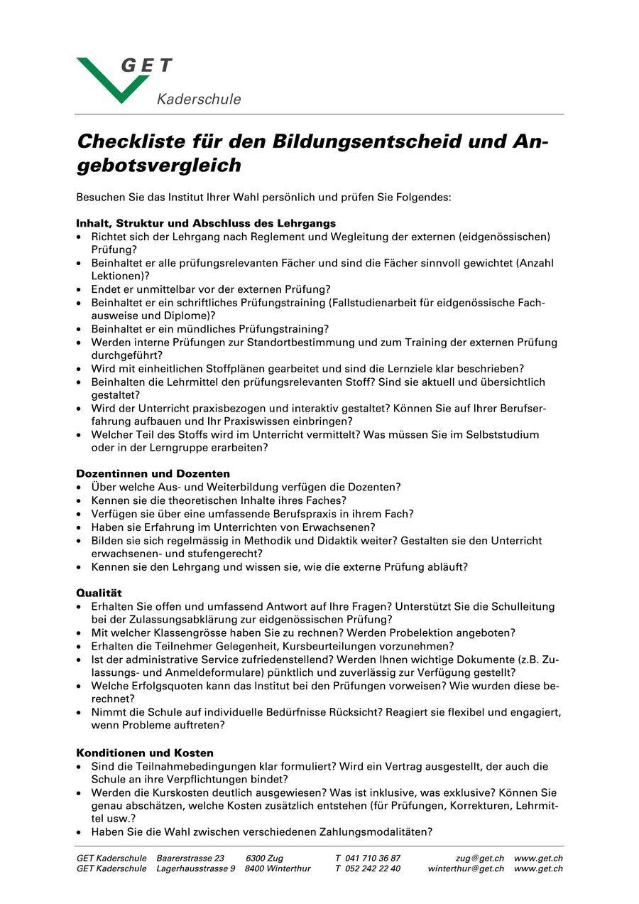 Checkliste Angebotsvergleich 2017 Von Get Kaderschule