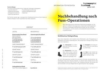 Nachbehandlung nach Fuss-Operationen 2015