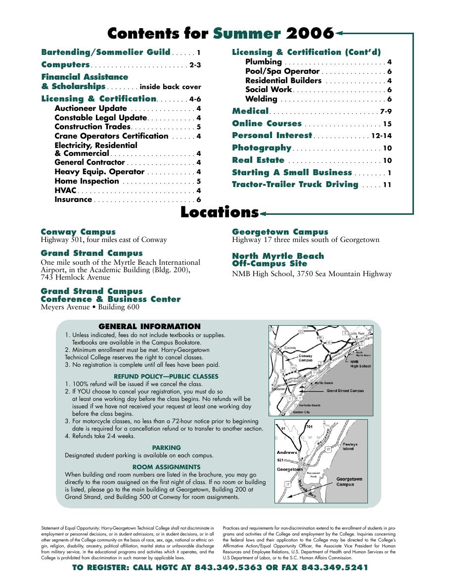 Hgtc Grand Strand Campus Map.Summer 2006 Class Shedule Von Horry Georgetown Technical College