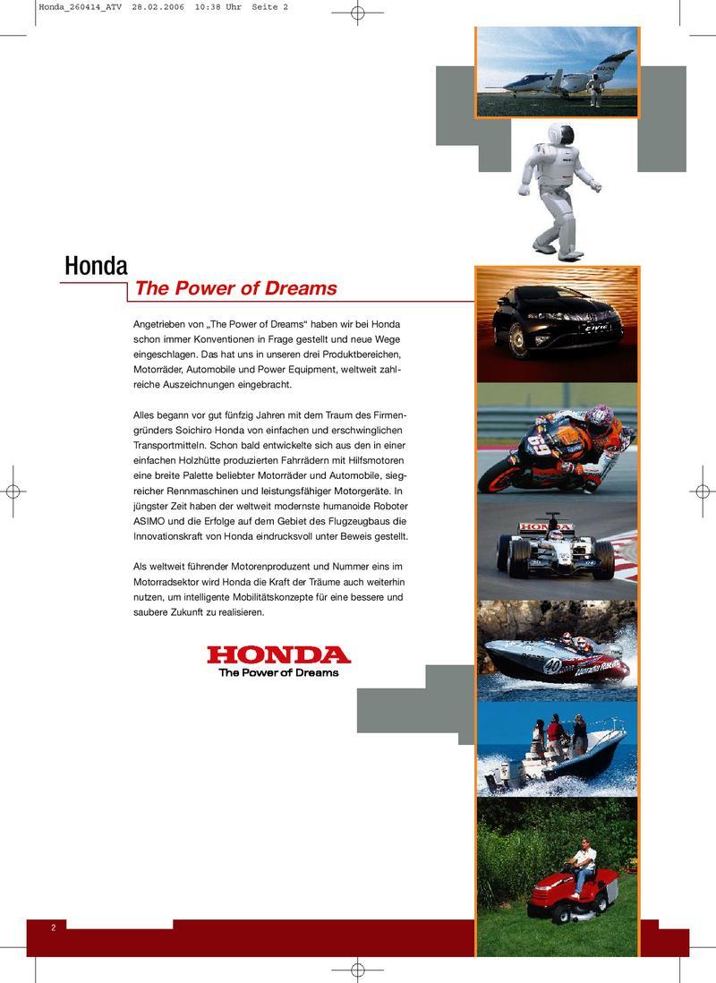 Honda ATV Prospekt 2006 von Honda Motorräder Deutschland
