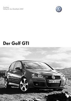 VW Golf GTI Preisliste 2007