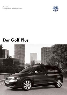 VW Golf Plus Preisliste 2007
