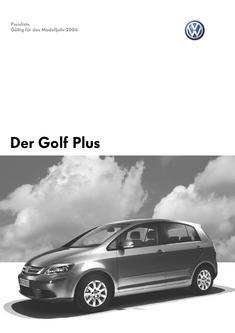 VW Golf Plus Preisliste 2005