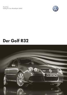 VW Golf R32 Preisliste 2006