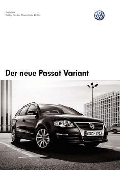 VW Passat Variant Preisliste 2006