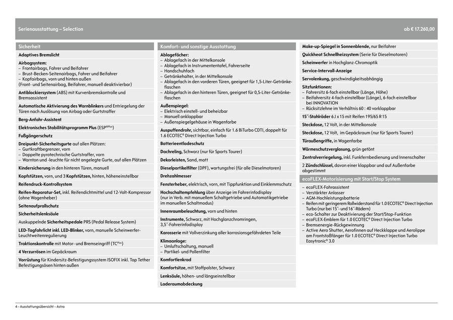 opel astra preisliste november 2016 von opel deutschland