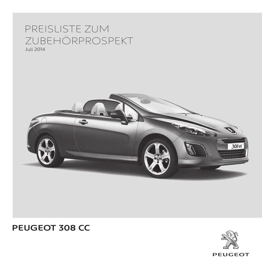 peugeot 308 cc zubehör preisliste juli 2014 von peugeot automobile