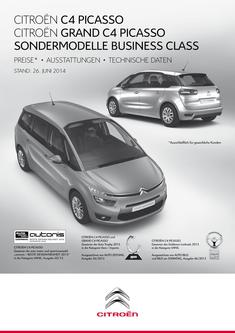 Grand C4 Picasso Business Class Preisliste 2014