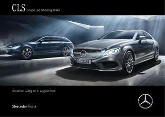 Preisliste CLS Coupé und Shooting Brake 8. August 2016