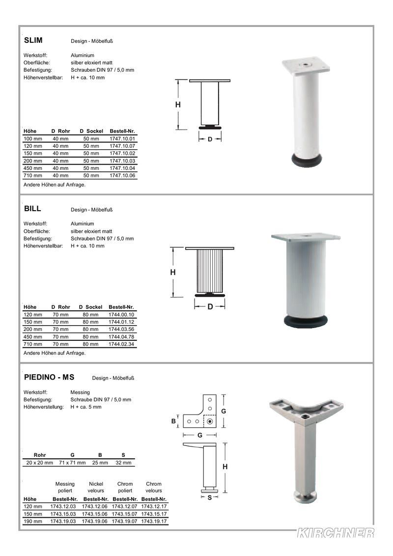 Erweiterung Mobelfusse Und Tischbeine 2004 Von Kirchner Design Technik